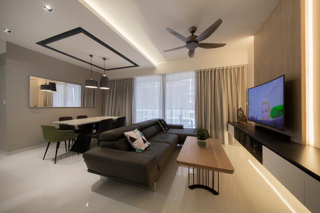 Scandinavian, HDB, Living Room, Skypark Residences, Interior Designer, Fineline Design, Dining Table, Furniture, Table, Indoors, Interior Design, Couch, Electronics, Lcd Screen, Monitor, Screen