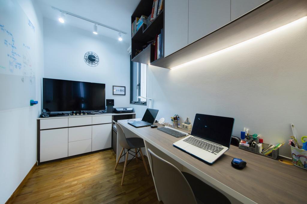 Scandinavian, HDB, Study, Skypark Residences, Interior Designer, Fineline Design, Desk, Furniture, Table, Computer, Electronics, Laptop, Pc, Flooring, Indoors, Office