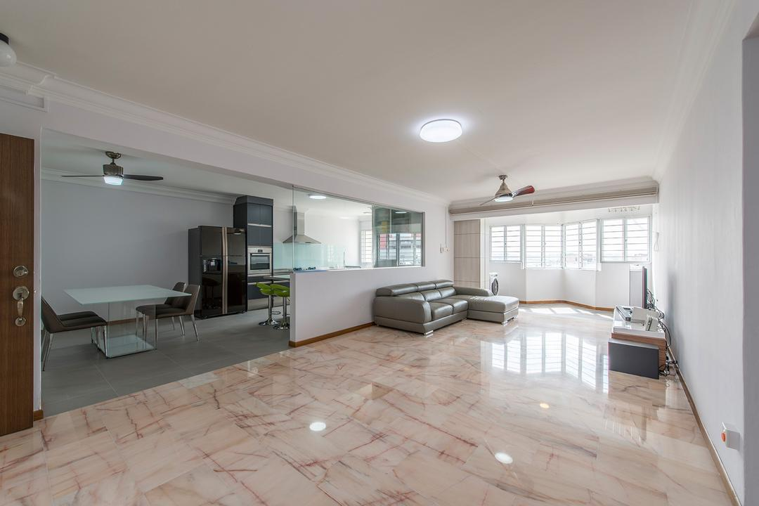 Bedok Reservoir, Ace Space Design, Traditional, Living Room, HDB, Marble Tiles, Tiles, Old Tiles, Old School Tiles, Lamp, Ceiling Fan, Spacious, Empty Space, Big Layout, Open Concept, Flooring