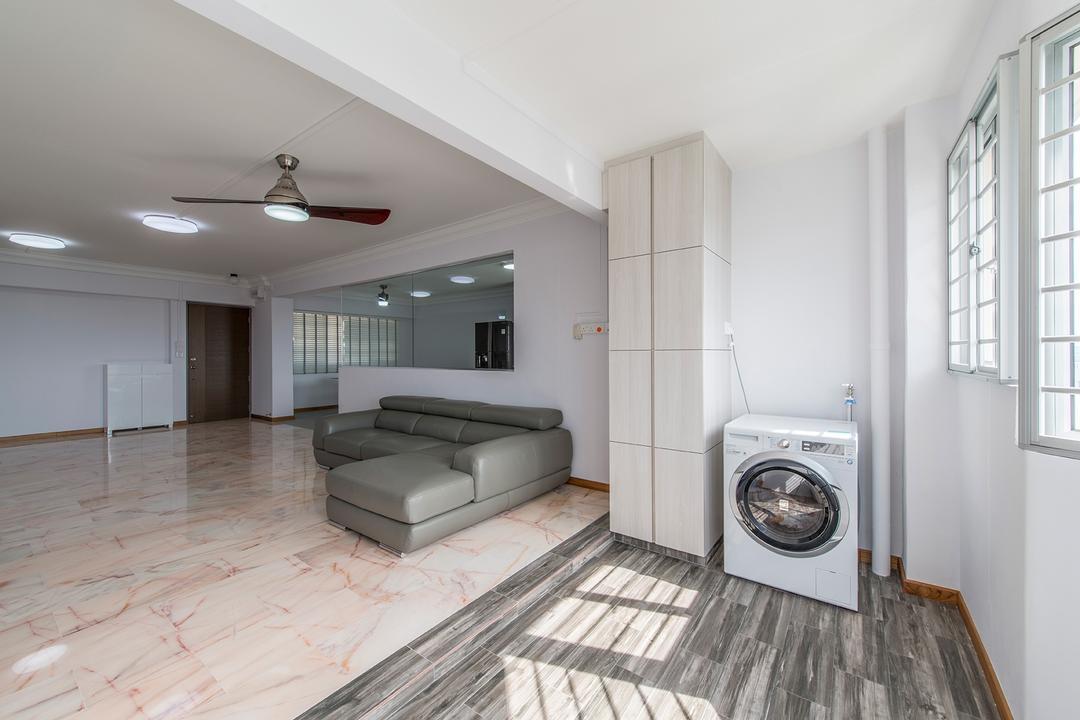Bedok Reservoir, Ace Space Design, Traditional, Balcony, HDB, Washing Machine, Wood Flooring, Awkward Corner, Awkward Layout, Sofa, Marble Tiles, Tile