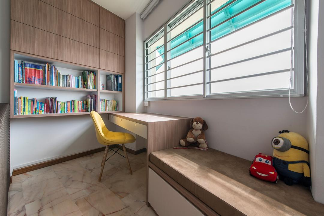 Bedok Reservoir, Ace Space Design, Traditional, Study, HDB, Blinds, Window, Bookcase, Bookshelf, Cabinet, Storage, Study Table Against Window, Table By The Window, Chair, Furniture