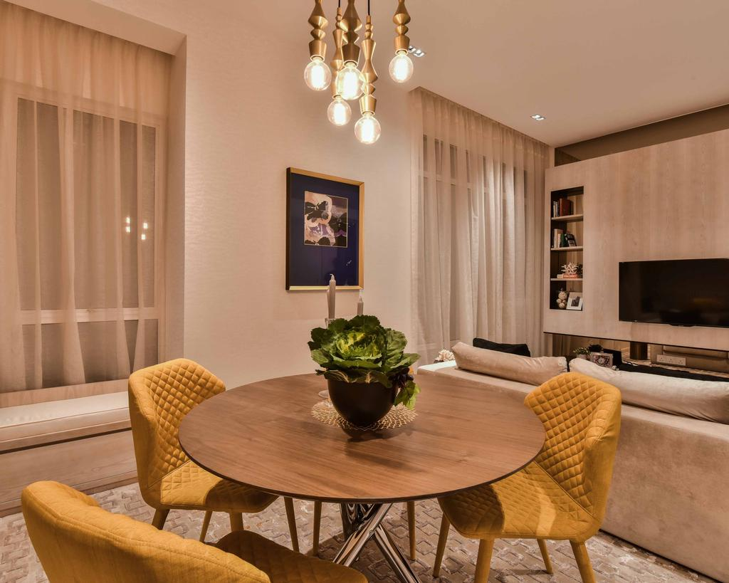 Contemporary, Condo, Dining Room, Sime Darby Melawati, Type B, Interior Designer, SQFT Space Design Management, Chair, Furniture, Indoors, Interior Design, Room, Dining Table, Table, Flora, Jar, Plant, Potted Plant, Pottery, Vase