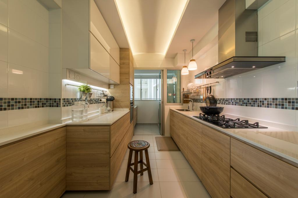 Scandinavian, HDB, Kitchen, Sumang Link (Block 313C), Interior Designer, erstudio, Bar Stool, Furniture, Indoors, Interior Design