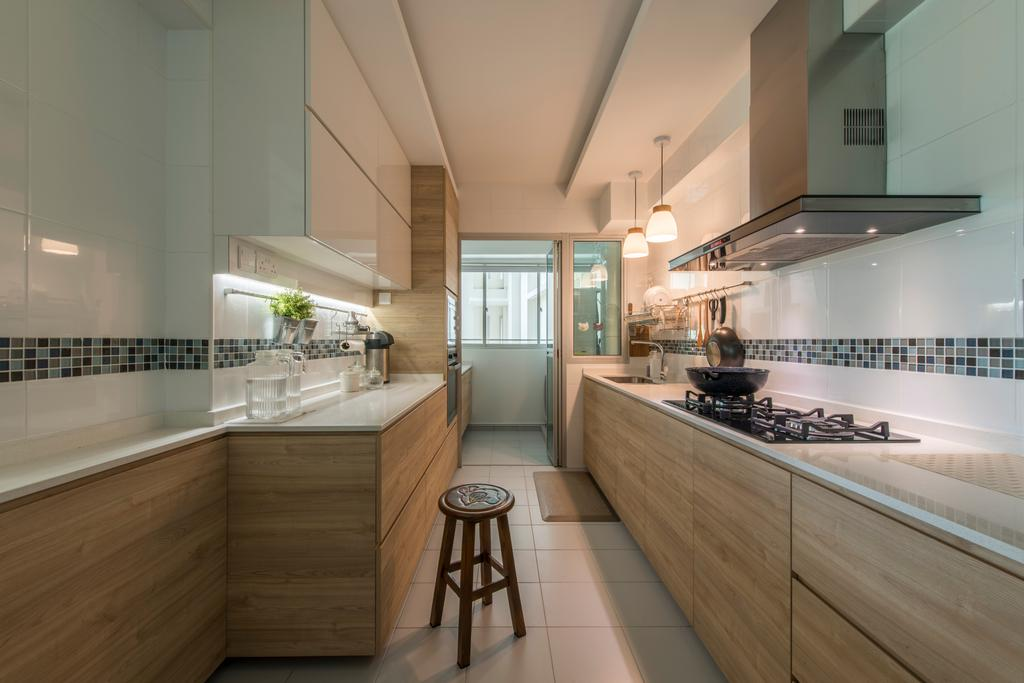 Scandinavian, HDB, Kitchen, Sumang Link (Block 313C), Interior Designer, erstudio, Bar Stool, Furniture, Indoors, Interior Design, Room