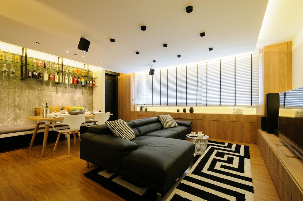 Modern, HDB, Living Room, Serangoon Avenue 3, Interior Designer, erstudio, Scandinavian, Couch, Furniture, Dining Table, Table, Indoors, Room, Interior Design, Dining Room