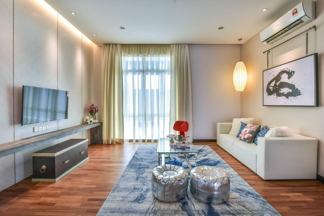 Bandar Eco Setia, SQFT Space Design Management, Contemporary, Living Room, Landed, Couch, Furniture, Ball, Sphere, Dining Room, Indoors, Interior Design, Room