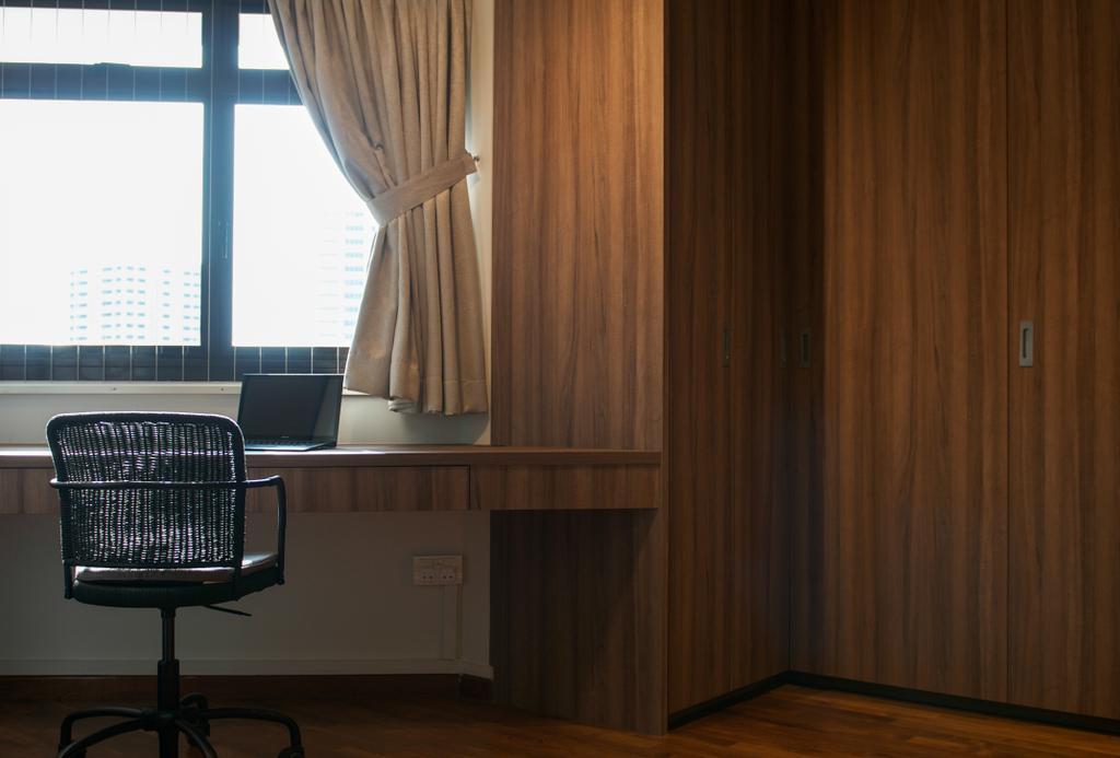 Scandinavian, HDB, Study, Cantonment Close, Interior Designer, Seven Heaven, Chair, Furniture, Curtain, Home Decor