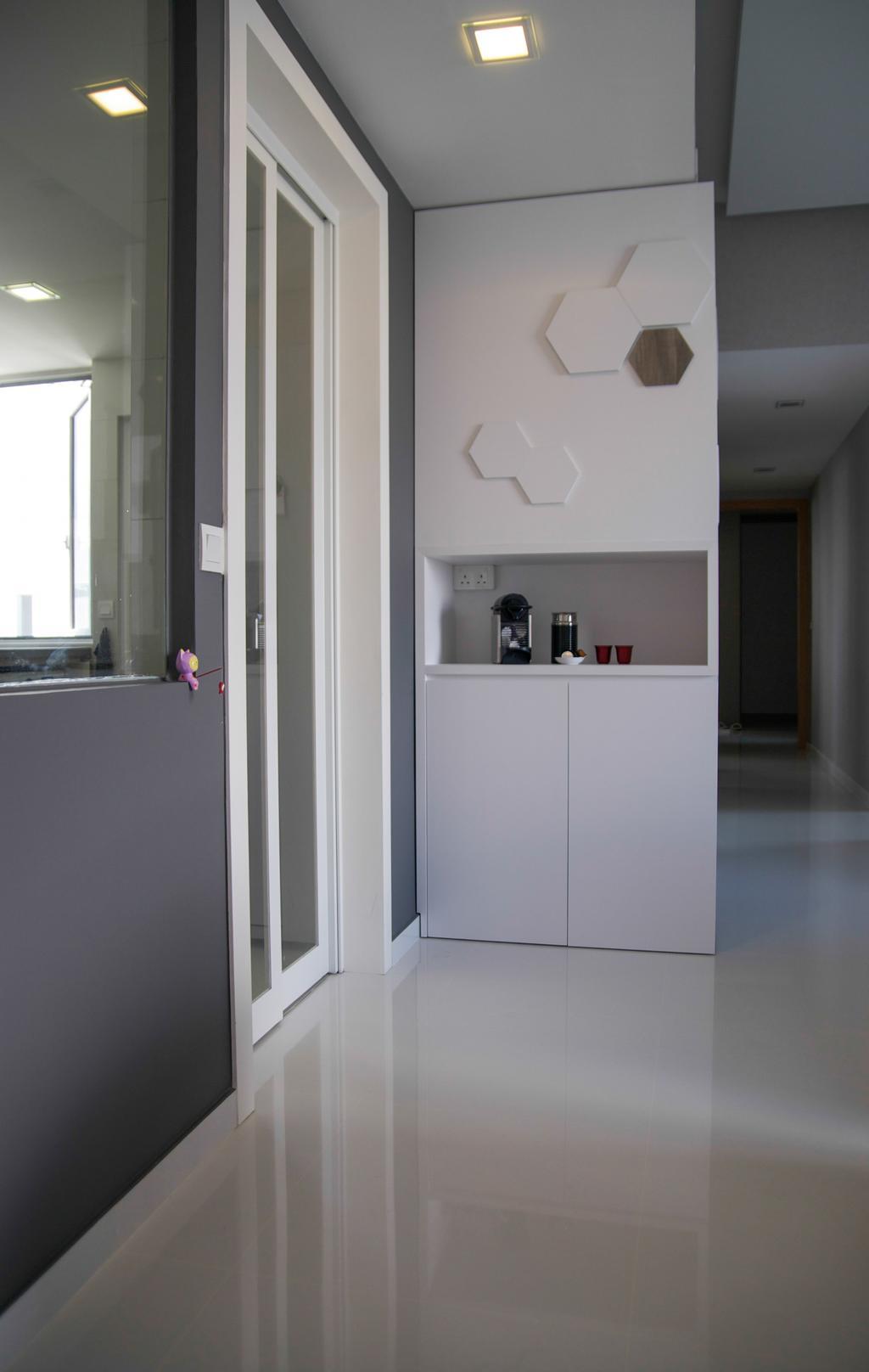 Modern, Condo, Living Room, Austville Residences, Interior Designer, Seven Heaven, Minimalistic, Corridor, Furniture, Sideboard
