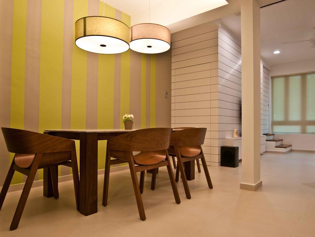 Modern, Landed, Dining Room, Jalan Chempah, Interior Designer, Seven Heaven, Bar Stool, Furniture, Chair, Indoors, Interior Design, Room, Dining Table, Table