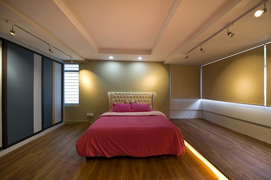 Minimalistic, HDB, Bedroom, Lim Liak Street, Interior Designer, Space Factor, Indoors, Interior Design, Bed, Furniture, Lighting
