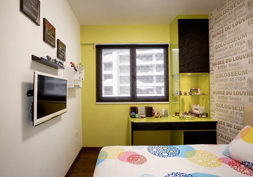 Vintage, Condo, Bedroom, Arc @ Tampines, Interior Designer, Space Factor, Wallpaper, Wall Decal, Bed, Display Case, Display Cabinet, Green Walls, Yellow Walls, Yellow Green, Shelf, Bathroom, Indoors, Interior Design, Room
