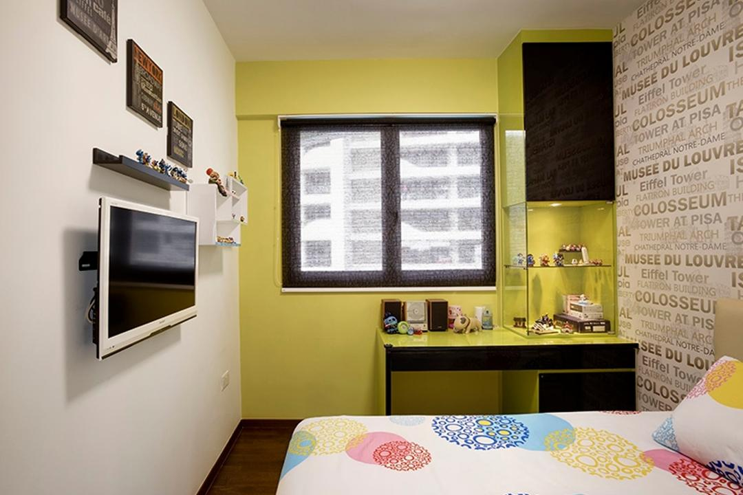 Arc @ Tampines, Space Factor, Vintage, Bedroom, Condo, Wallpaper, Wall Decal, Bed, Display Case, Display Cabinet, Green Walls, Yellow Walls, Yellow Green, Shelf, Bathroom, Indoors, Interior Design, Room