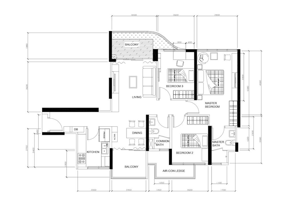 Vintage, Condo, Arc @ Tampines, Interior Designer, Space Factor, Floor Plan, Diagram, Plan