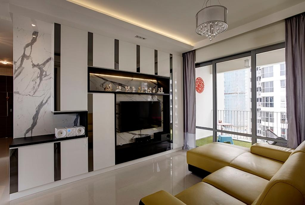 Vintage, Condo, Living Room, Arc @ Tampines, Interior Designer, Space Factor, Chandelier, Tv Console, Tv Cabinet, Cabinet, Sofa, Balcony, Curtain, Tiles, Couch, Furniture, Electronics, Entertainment Center, Fireplace, Hearth, Bedroom, Indoors, Interior Design, Room, Studio Couch