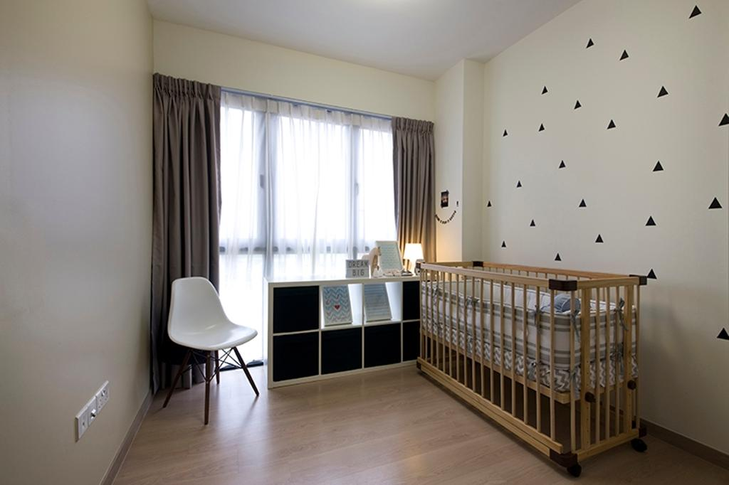 Modern, Condo, Bedroom, RiverParc Residence (Punggol), Interior Designer, Fuse Concept, Kids Room, Baby Cot, Wallpaper, Curtain, Bookcase, Display Case, Cubbyhole, Storage, Chair, Furniture, Crib
