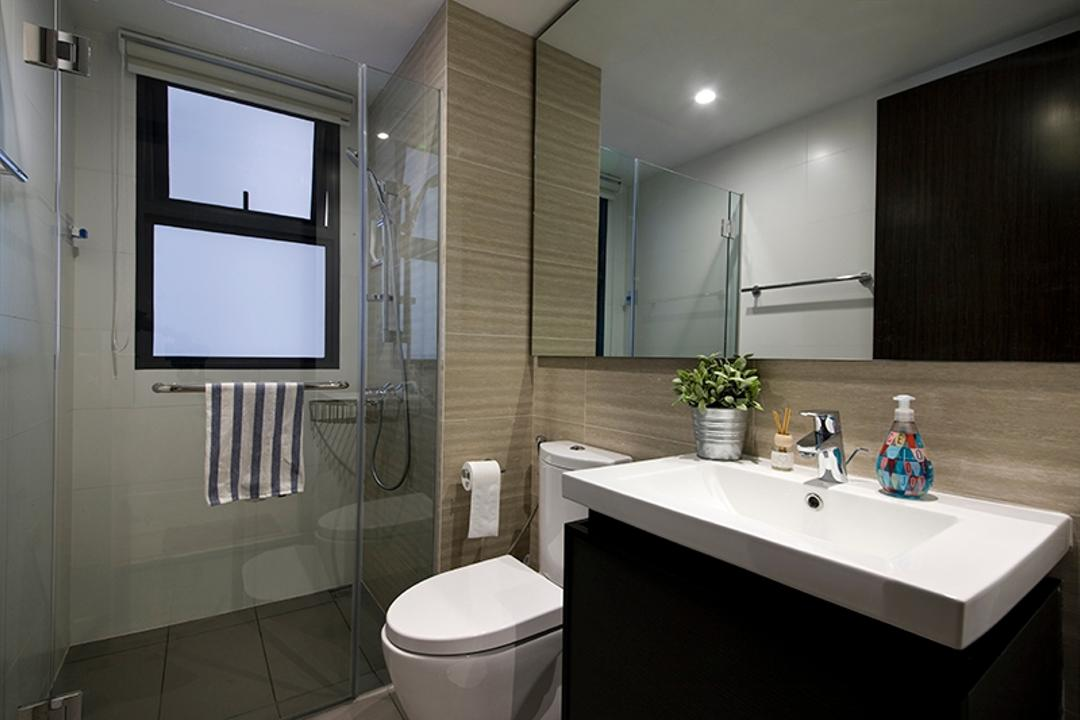 RiverParc Residence (Punggol), Fuse Concept, Modern, Bathroom, Condo, Shower Partition, Mirror, Vanity Cabinet, Indoors, Interior Design, Room, Projection Screen, Screen, Toilet