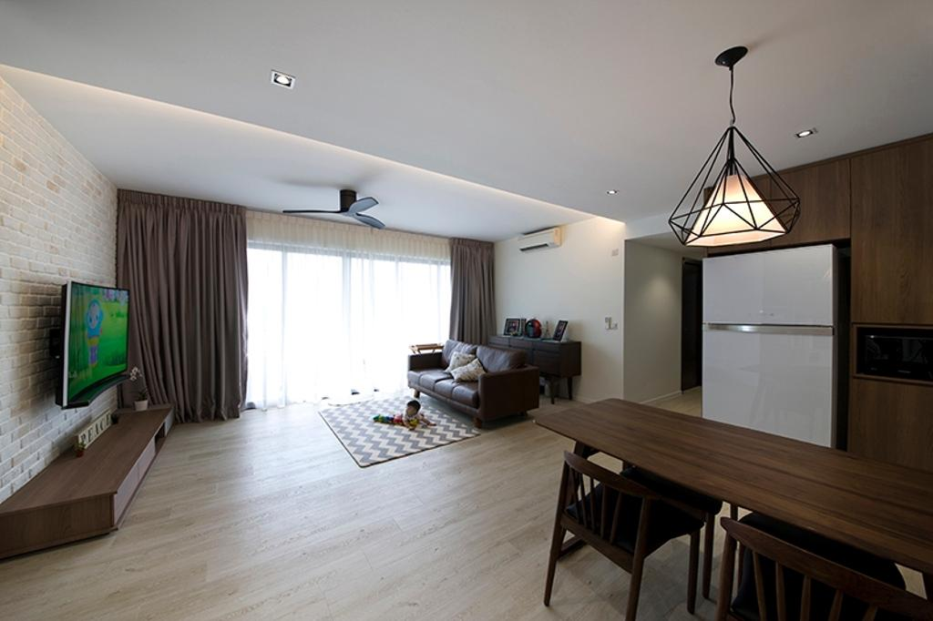 Modern, Condo, Dining Room, RiverParc Residence (Punggol), Interior Designer, Fuse Concept, Mid Century Modern, Wood Accents, Woody, Hanging Lamp, Pendant Lamp, Fridge, Dining Area, Couch, Furniture, Curtain, Home Decor, Dining Table, Table, Indoors, Interior Design, Room, Chair