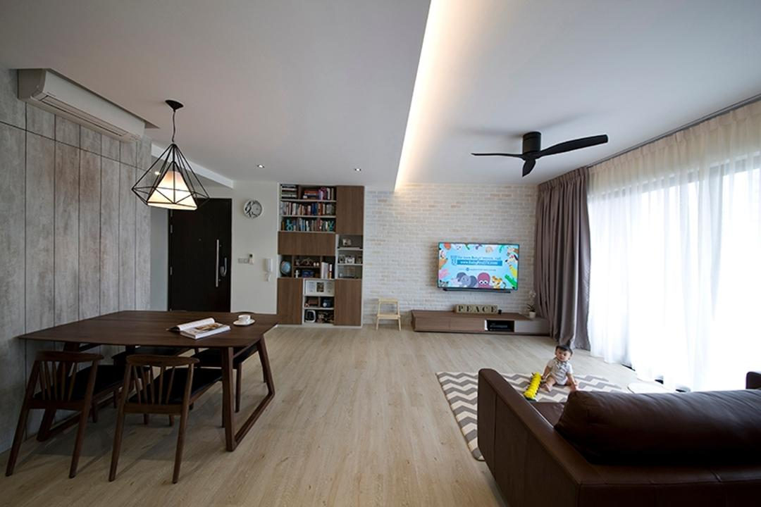 RiverParc Residence (Punggol), Fuse Concept, Modern, Living Room, Condo, Hallway, Cove Lighting, False Ceiling, Dining Table, Sofa, Ceiling, Bookcase, Carpet, Furniture, Table, Bench, Indoors, Room, Chair