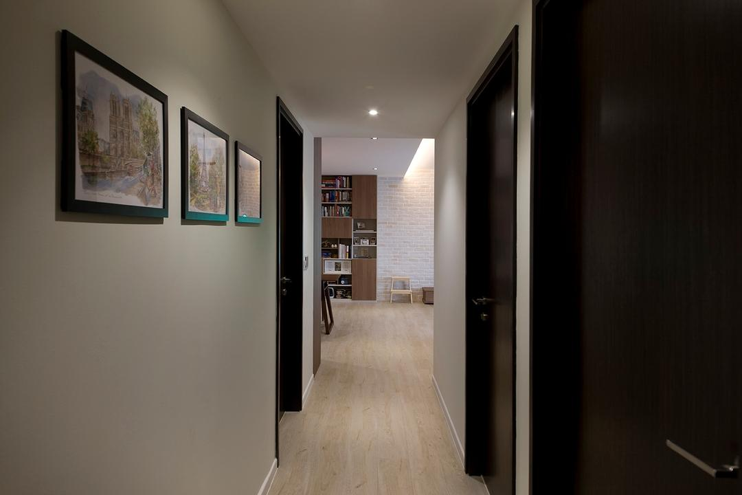 RiverParc Residence (Punggol), Fuse Concept, Modern, Condo, Hallway, Corridor, Lightings, Art Frame, Wall Art, Flooring, Art
