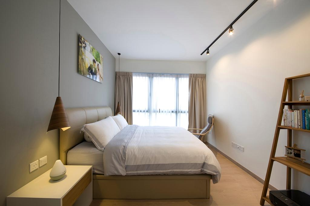 Modern, Condo, Bedroom, RiverParc Residence (Punggol), Interior Designer, Fuse Concept, Bookcase, Display Case, Wall Art, Hanging Lamps, Track Lightings, Armchair, Bed, Cosy, Soft, Neutrals, Side Table, Warm Glow, Shelf, Indoors, Interior Design, Room, Furniture