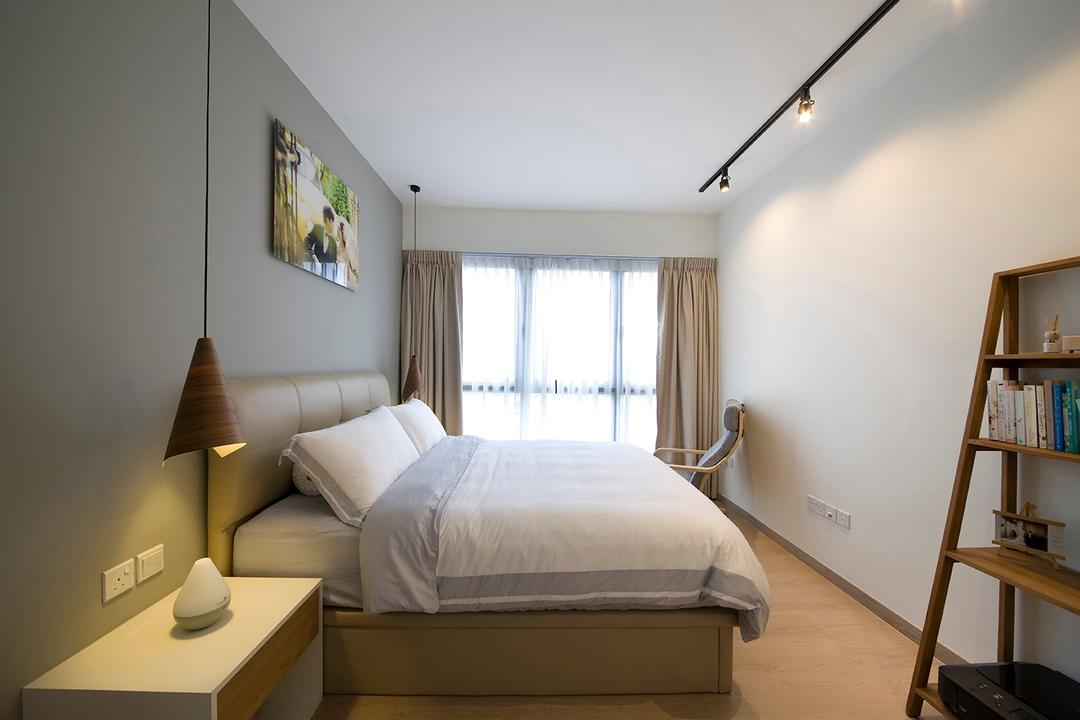 RiverParc Residence (Punggol), Fuse Concept, Modern, Bedroom, Condo, Bookcase, Display Case, Wall Art, Hanging Lamps, Track Lightings, Armchair, Bed, Cosy, Soft, Neutrals, Side Table, Warm Glow, Shelf, Indoors, Interior Design, Room, Furniture