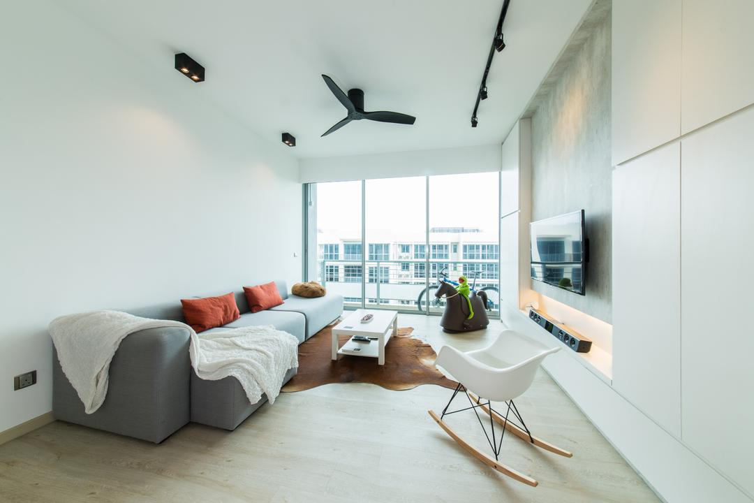Ferraria Park, Fuse Concept, Contemporary, Living Room, Condo, Ceiling Fan, White, Bright And Airy, Cupboard, Simple, Fuss Free, Sofa, Cowhide, Rug, Rocking Chair, Track Lights, Cosy, Bright, Airy