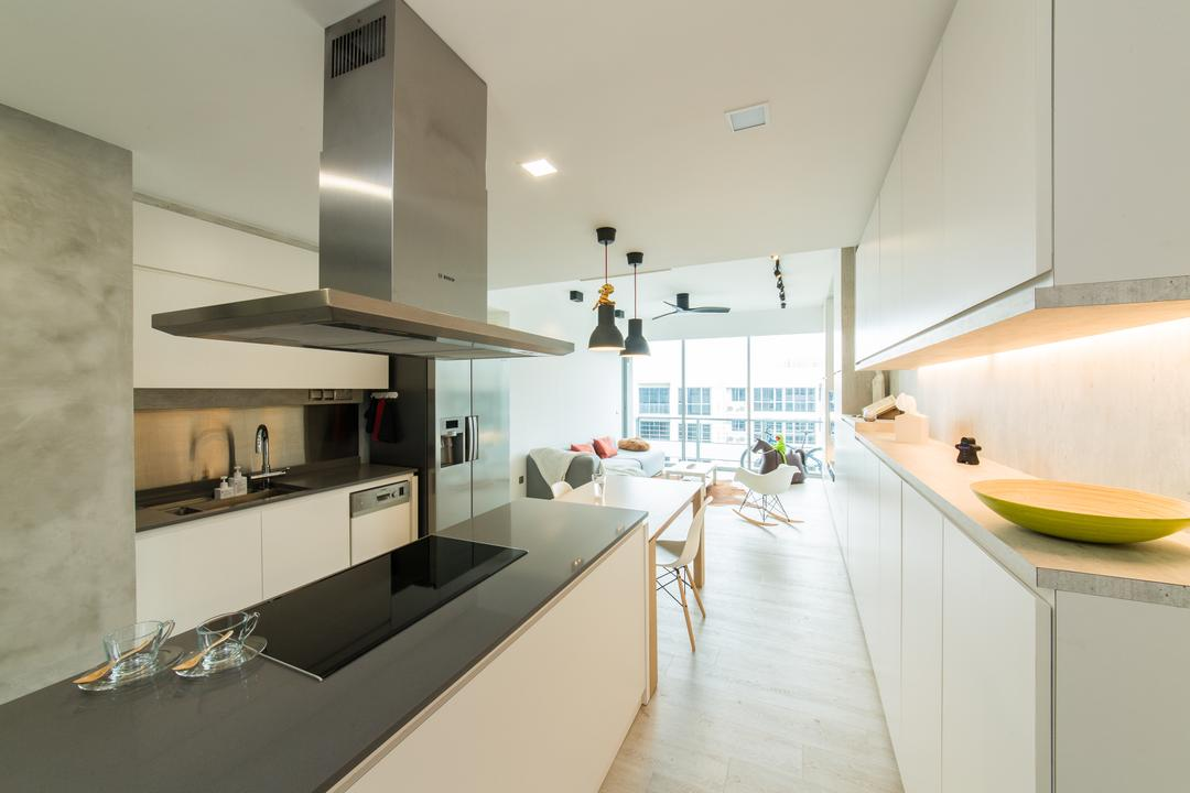 Ferraria Park, Fuse Concept, Contemporary, Kitchen, Condo, Cove Lighting, Cabinet, Display Case, Display Cabinet, Storage, Hood, Hob, Stove, Grey, Gray, Simple, Open Concept, Spacious, Airy, Open Layout, Doorless, Pendant Lamp, Countertop, Dual Purpose, Dual Function, Kitchen Top, Indoors, Interior Design