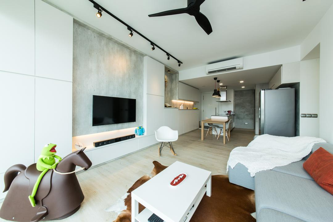 Ferraria Park, Fuse Concept, Contemporary, Living Room, Condo, Cowhide, Rocking Chair, Sofa, Track Lights, Ceiling Fan, Tv Console, Storage, Coffee Table, White, Simple, Airy, Natural Light, Bright, Uncluttered, Couch, Furniture, Indoors, Room, HDB, Building, Housing, Fireplace, Hearth