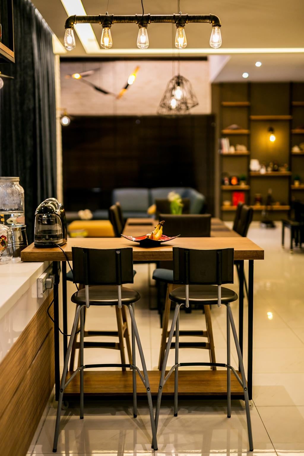 Landed, Kitchen, Akira Sierra, Interior Designer, M innovative Builders, Chair, Furniture, Dining Table, Table, Conference Room, Indoors, Meeting Room, Room, Bar Stool