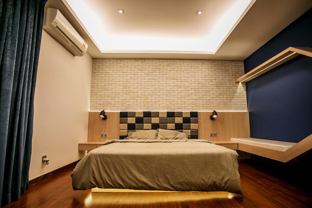 Landed, Bedroom, Akira Sierra, Interior Designer, M innovative Builders, Bed, Furniture, Architecture, Building, Skylight, Window, Shelf