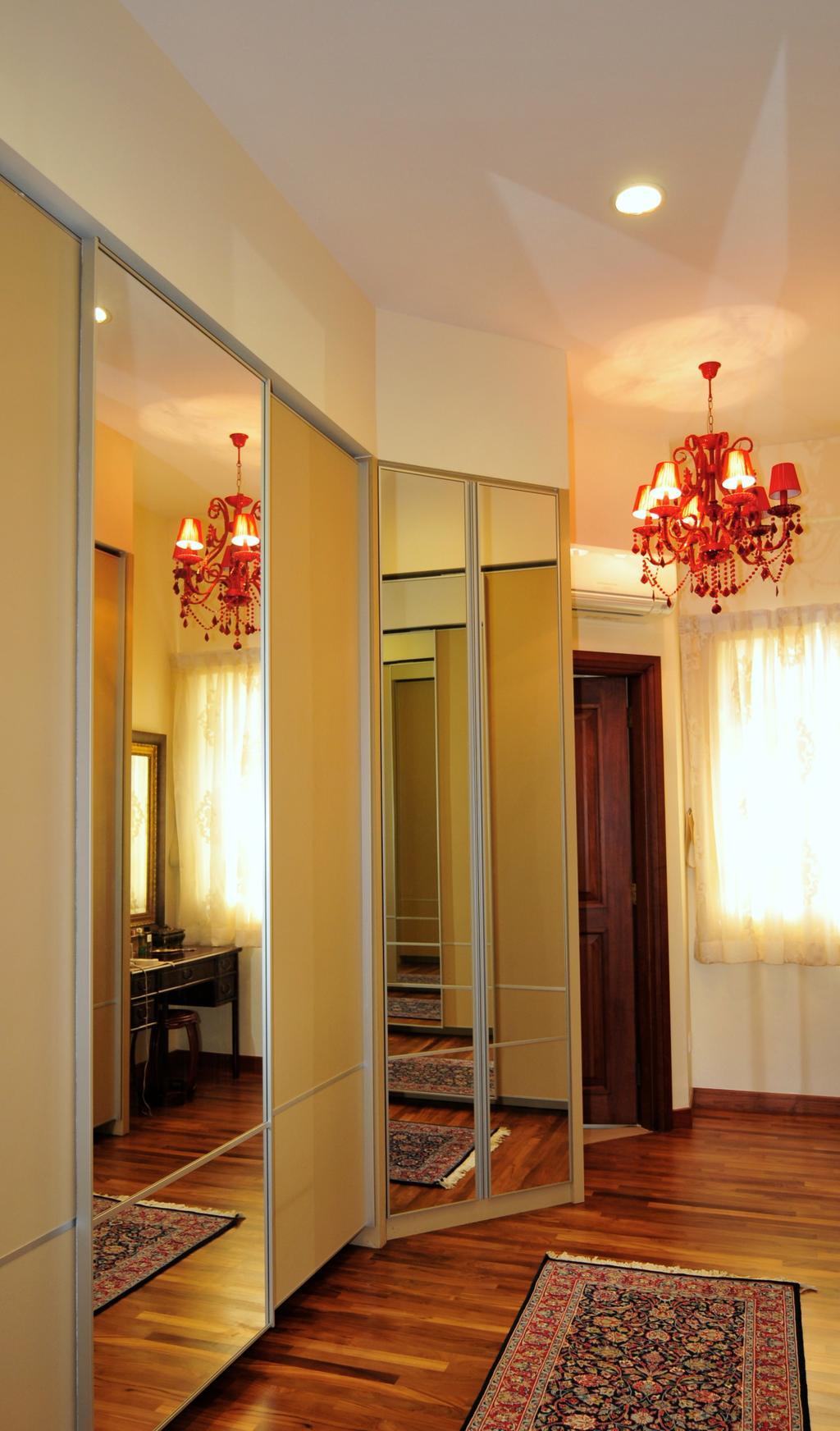 Transitional, Landed, Bedroom, Greenwood Avenue, Interior Designer, Seven Heaven, Chandelier, Lamp, Curtain, Home Decor