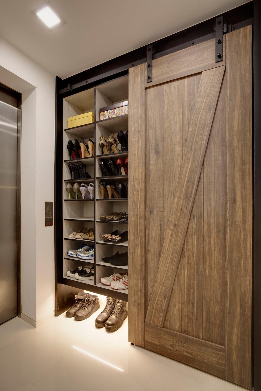 Modern, Condo, Living Room, Meadows @ Peirce, Interior Designer, Juz Interior, Scandinavian, Clothing, Footwear, Shoe, Bookcase, Furniture, Shelf