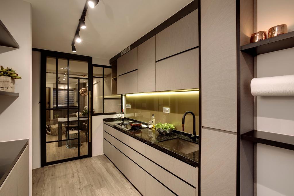 Modern, HDB, Kitchen, Ang Mo Kio Avenue 10, Interior Designer, Juz Interior, Indoors, Interior Design, Shelf, Molding