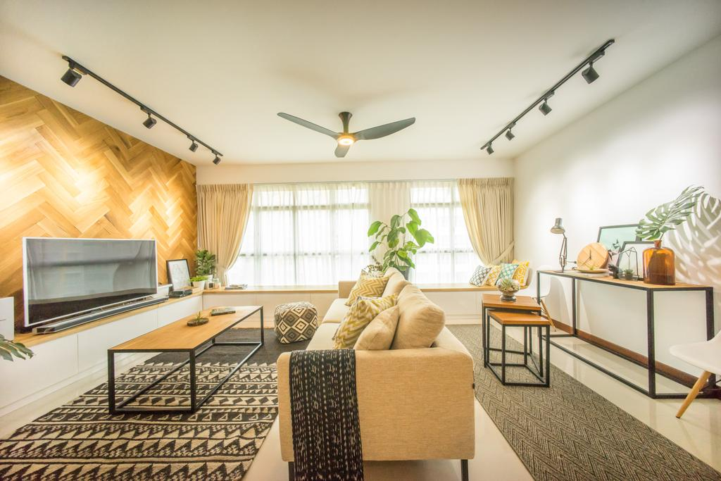 Scandinavian, HDB, Living Room, Compassvale Drive (Block 216B), Interior Designer, Team Interior Design, Indoors, Interior Design