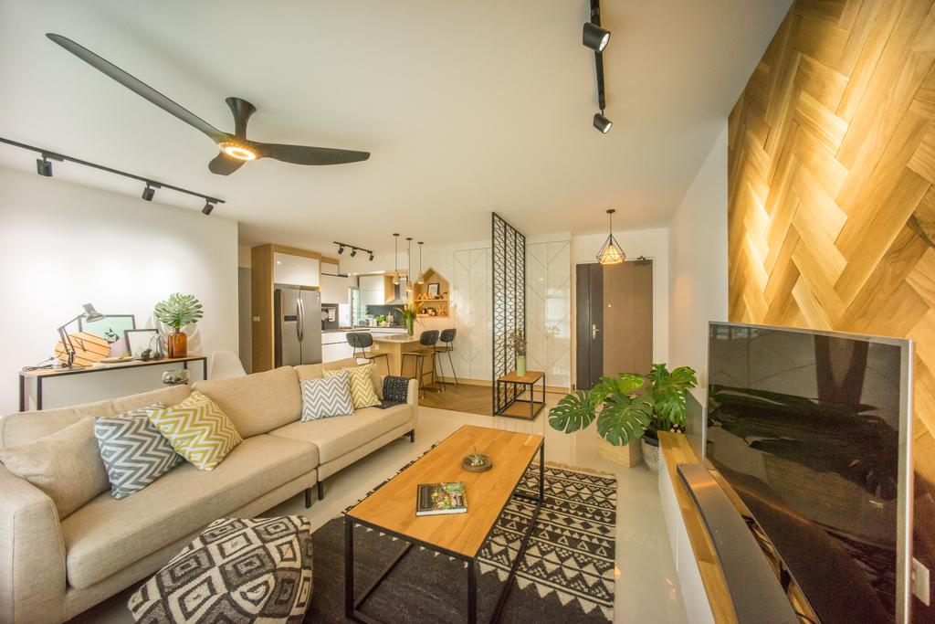 Scandinavian, HDB, Living Room, Compassvale Drive (Block 216B), Interior Designer, Team Interior Design, Couch, Furniture, Indoors, Interior Design, Room