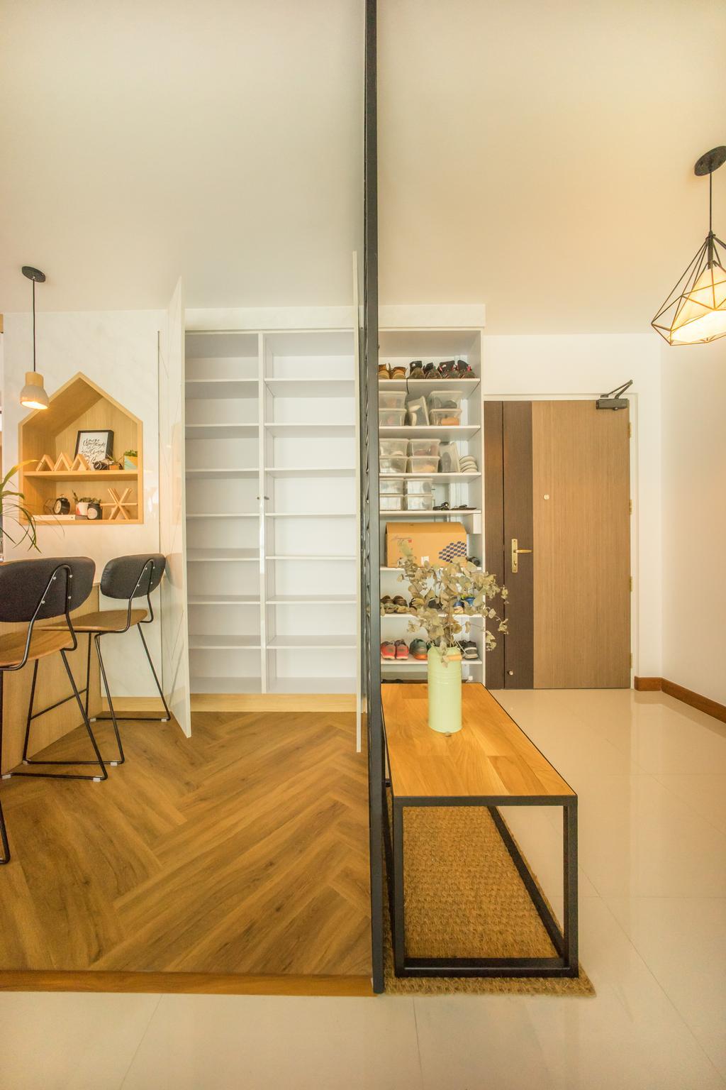 Scandinavian, HDB, Living Room, Compassvale Drive (Block 216B), Interior Designer, Team Interior Design, Chair, Furniture, Flooring, Indoors, Interior Design