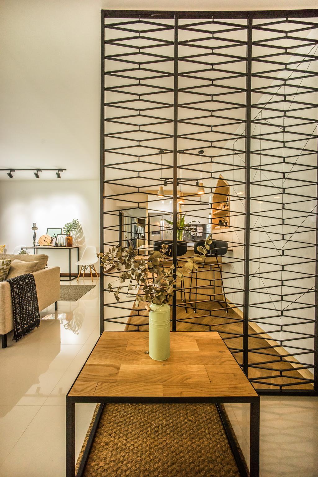 Scandinavian, HDB, Living Room, Compassvale Drive (Block 216B), Interior Designer, Team Interior Design, Couch, Furniture, Flora, Jar, Plant, Potted Plant, Pottery, Vase, Indoors, Interior Design