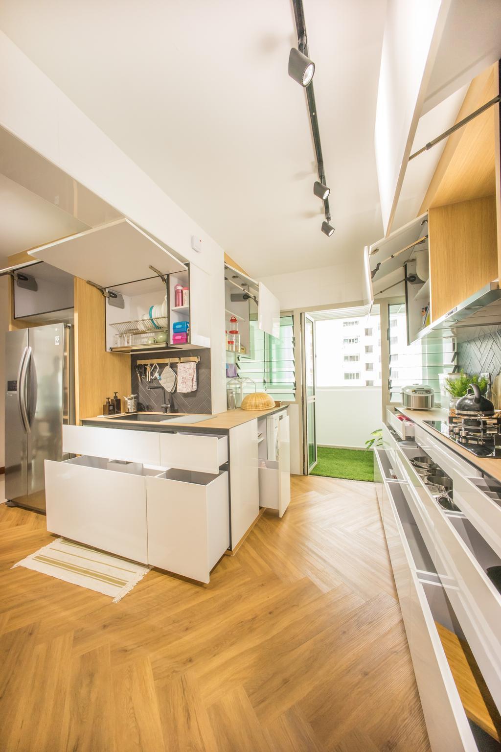 Scandinavian, HDB, Kitchen, Compassvale Drive (Block 216B), Interior Designer, Team Interior Design, Appliance, Electrical Device, Fridge, Refrigerator, Indoors, Interior Design