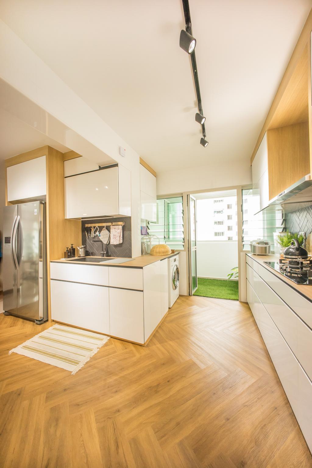 Scandinavian, HDB, Kitchen, Compassvale Drive (Block 216B), Interior Designer, Team Interior Design, Indoors, Interior Design, Room