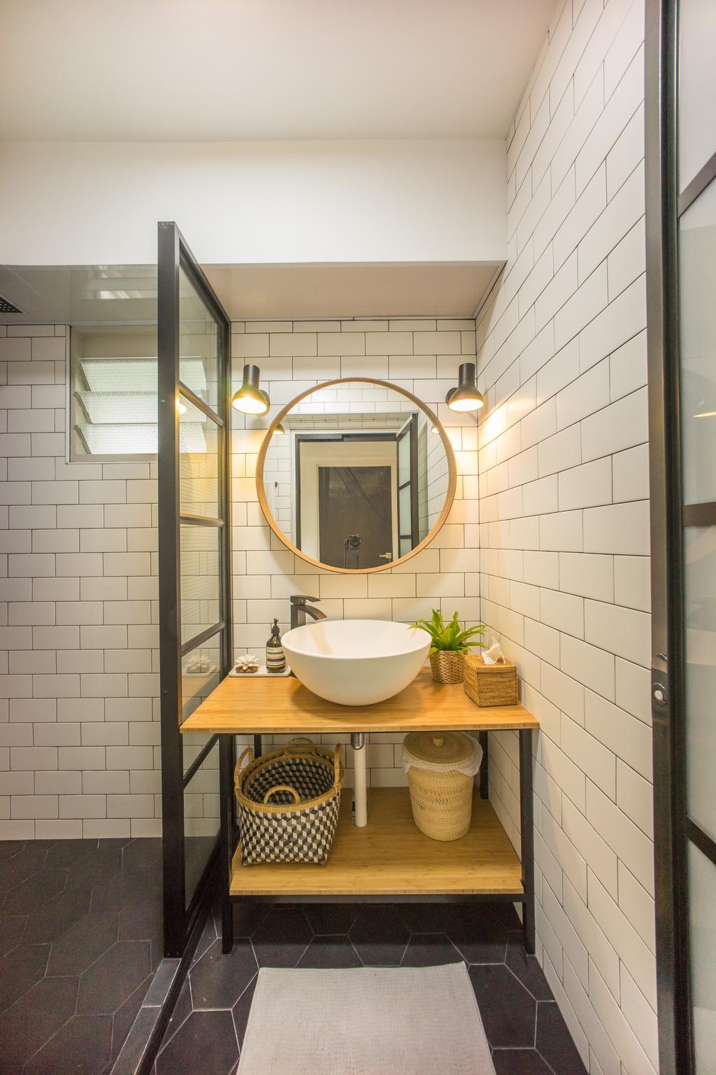 Scandinavian, HDB, Bathroom, Compassvale Drive (Block 216B), Interior Designer, Team Interior Design, Sink