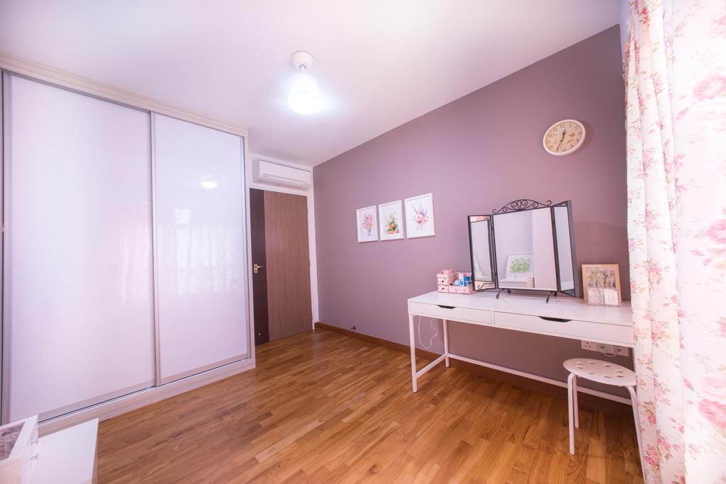 Contemporary, HDB, Bedroom, Compassvale Drive (Block 216C), Interior Designer, Team Interior Design, Mirror, Flooring, Floor