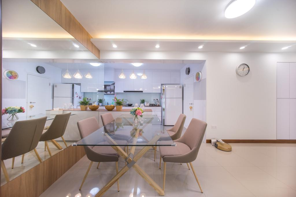 Contemporary, HDB, Dining Room, Compassvale Drive (Block 216C), Interior Designer, Team Interior Design, Chair, Furniture, Dining Table, Table, Indoors, Interior Design