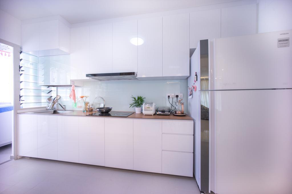 Contemporary, HDB, Kitchen, Compassvale Drive (Block 216C), Interior Designer, Team Interior Design, Appliance, Electrical Device, Fridge, Refrigerator