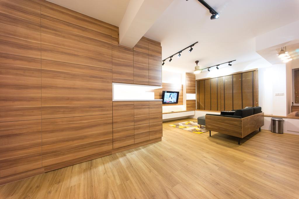 Scandinavian, HDB, Living Room, Compassvale Bow (Block 274A), Interior Designer, Team Interior Design, Flooring, Hardwood, Wood