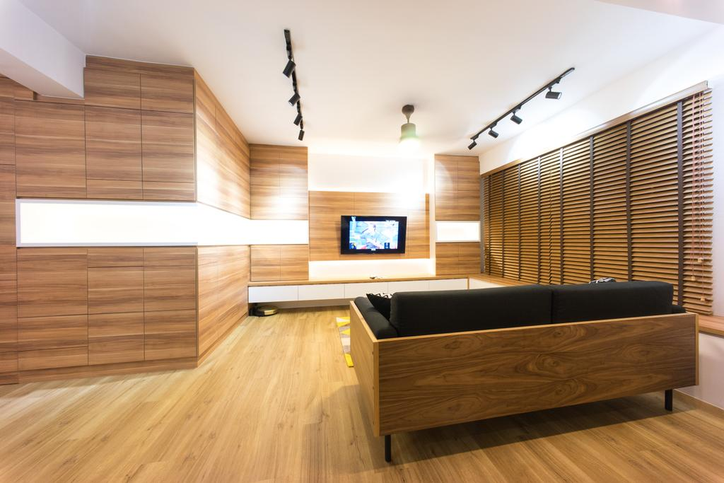Scandinavian, HDB, Living Room, Compassvale Bow (Block 274A), Interior Designer, Team Interior Design, Hardwood, Wood, Indoors, Interior Design