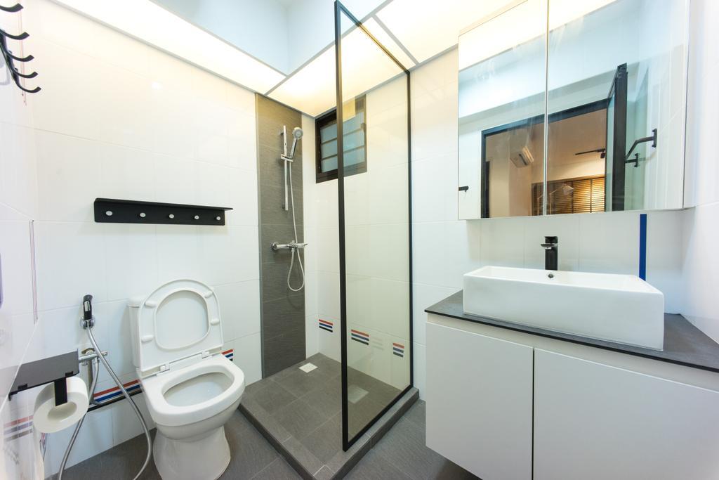 Scandinavian, HDB, Compassvale Bow (Block 274A), Interior Designer, Team Interior Design, Toilet, Bathroom, Indoors, Interior Design, Room, Sink