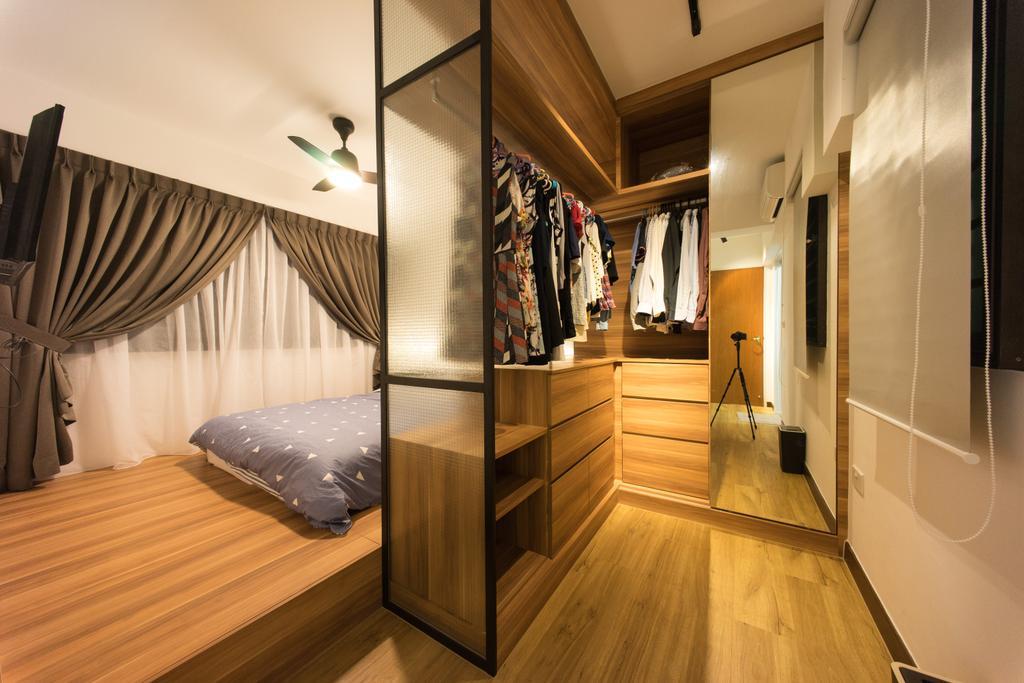 Scandinavian, HDB, Bedroom, Compassvale Bow (Block 274A), Interior Designer, Team Interior Design, Hardwood, Wood, Flooring