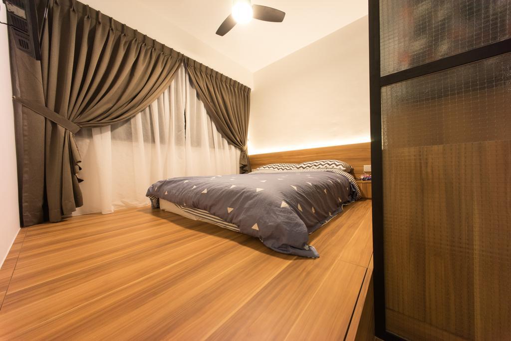 Scandinavian, HDB, Bedroom, Compassvale Bow (Block 274A), Interior Designer, Team Interior Design, Bed, Furniture, Hardwood, Wood