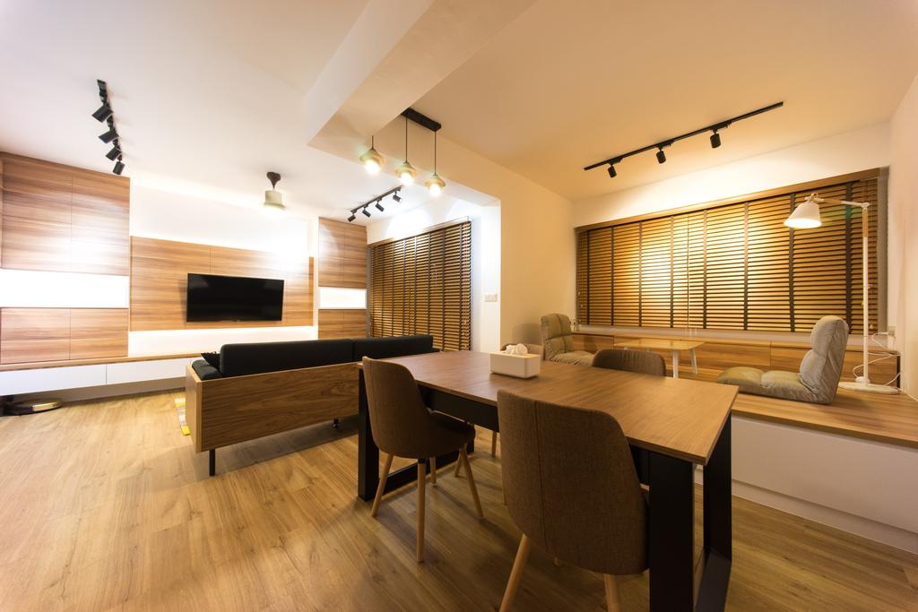 Scandinavian, HDB, Dining Room, Compassvale Bow (Block 274A), Interior Designer, Team Interior Design, Couch, Furniture, Dining Table, Hardwood, Table, Wood, Chair