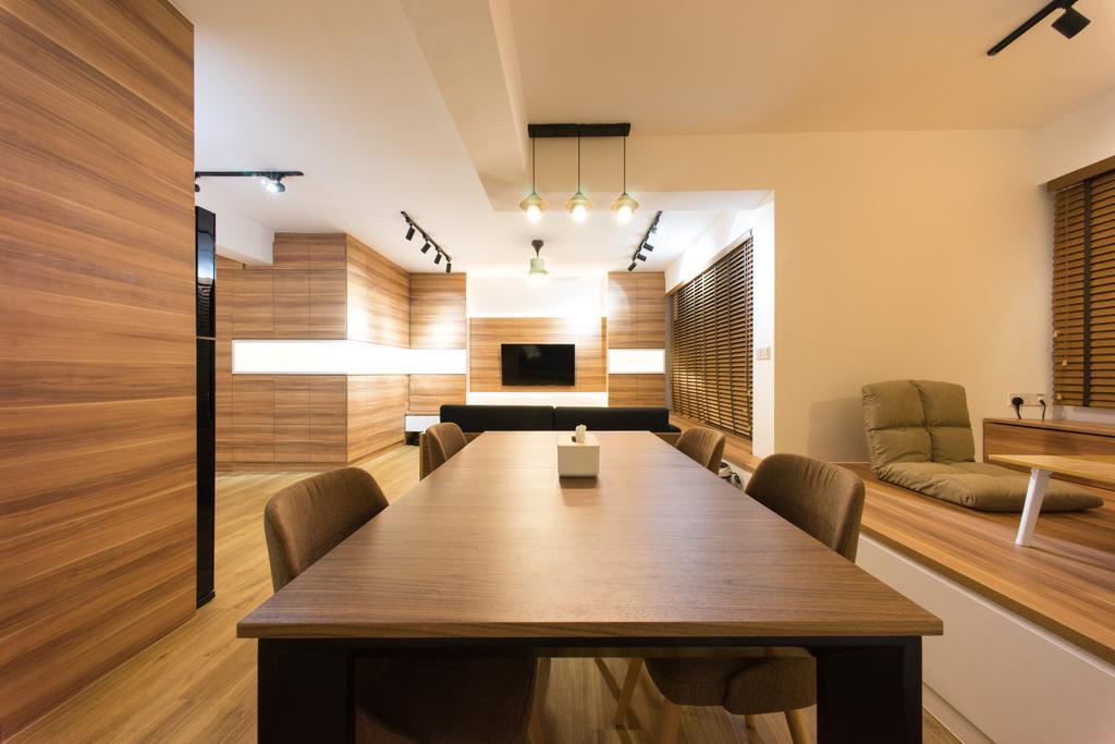 Scandinavian, HDB, Dining Room, Compassvale Bow (Block 274A), Interior Designer, Team Interior Design, Couch, Furniture, Dining Table, Table, Indoors, Interior Design, Room
